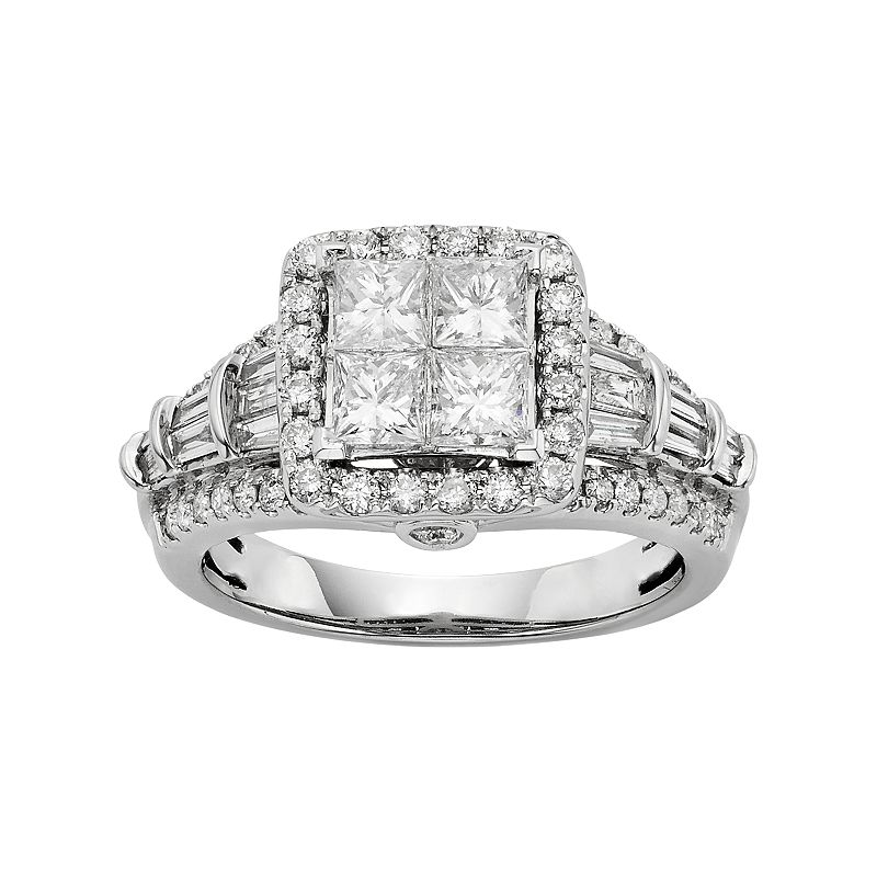 Diamond Square Halo Engagement Ring in 10k White Gold (1 1/2 Carat T.W.)