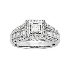 Diamond Square Halo Engagement Ring in 10k White Gold (1 Carat T.W.) by