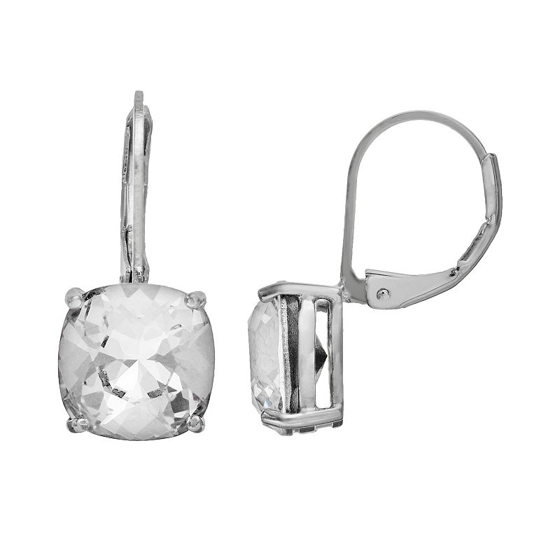 Illuminaire Crystal Silver-Plated Drop Earrings - Made with Swarovski Crystals