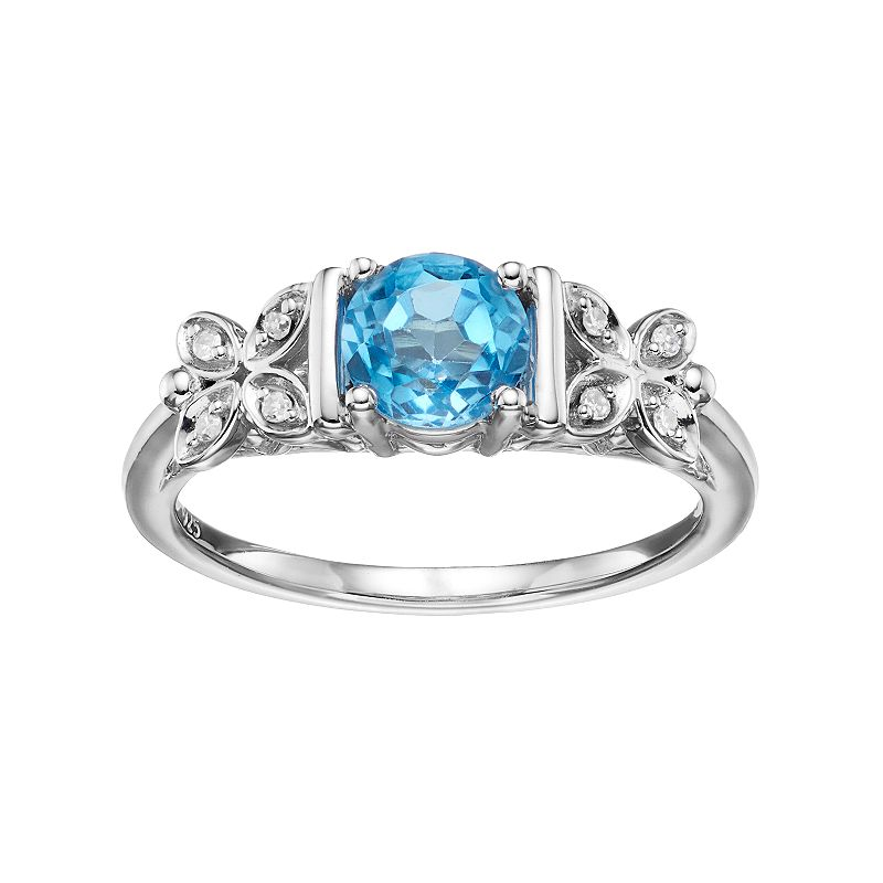 Love Is Forever Sterling Silver Blue Topaz & Diamond Accent Flower Ring