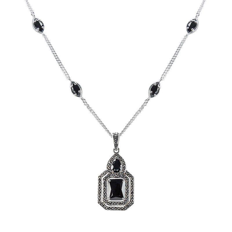 Silver Glamour Cubic Zirconia & Marcasite Silver Tone Pendant Necklace