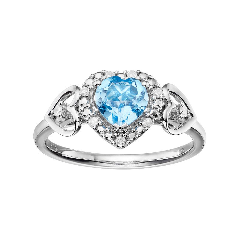 Love Is Forever Sterling Silver Blue Topaz & Diamond Accent Heart Halo Ring
