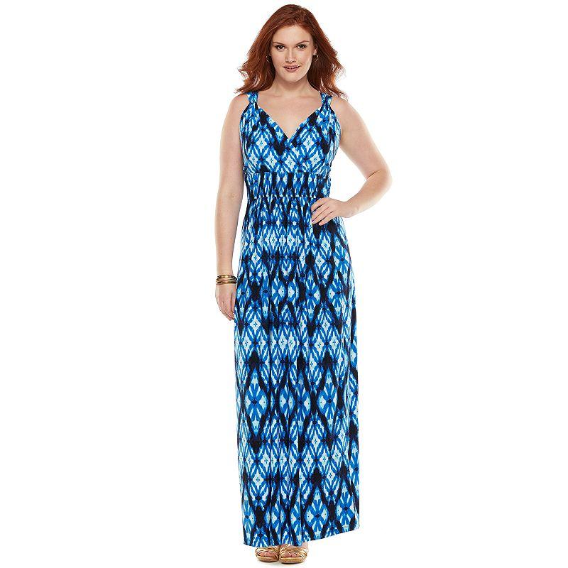 Chaps Ruched Maxi Dress - Women's Plus Size