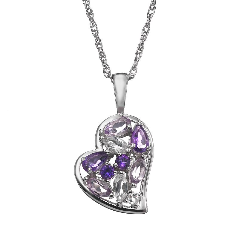 Amethyst and White Topaz Sterling Silver Heart Pendant Necklace