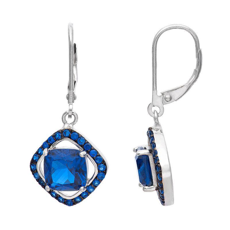 Sapphire Sterling Silver Frame Drop Earrings
