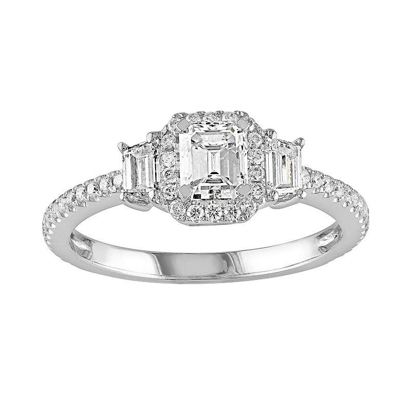Diamond 3-Stone Engagement Ring in 14k White Gold (1 1/5 Carat T.W.)