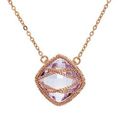 Amethyst 18k Rose Gold Over Silver Chain-Wrapped Necklace by