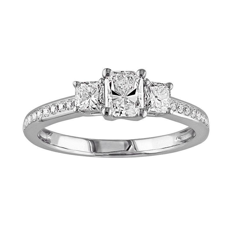 Diamond 3-Stone Engagement Ring in 14k White Gold (1 Carat T.W.)