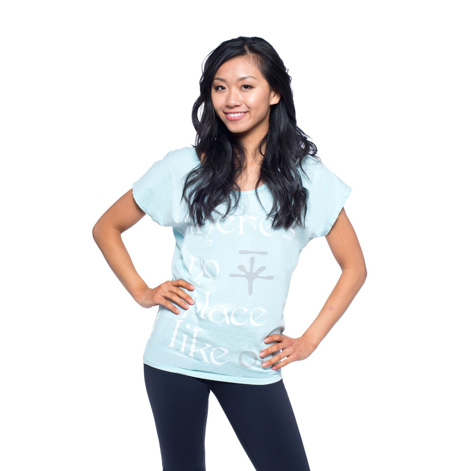 Womens Soybu Graphic Dolman Scoopneck Yoga Tee