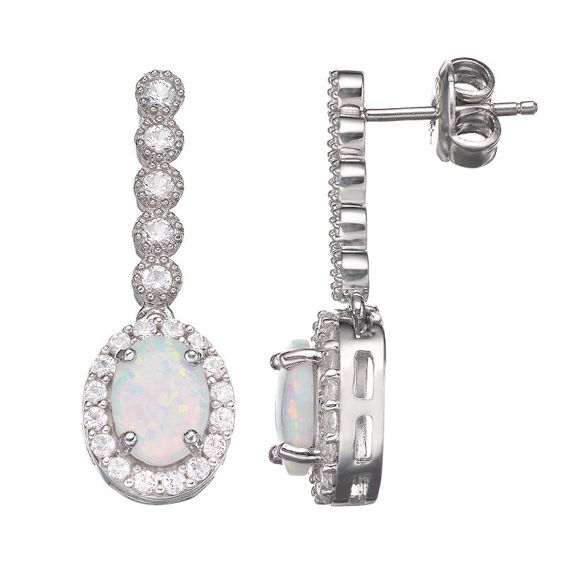 Lab-Created Opal and Lab-Created White Sapphire Sterling Silver Linear Drop Earrings