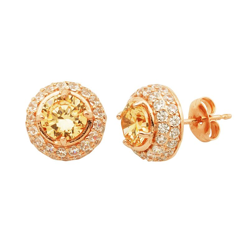 Champagne and White Cubic Zirconia 18k Rose Gold Over Silver Halo Stud Earrings