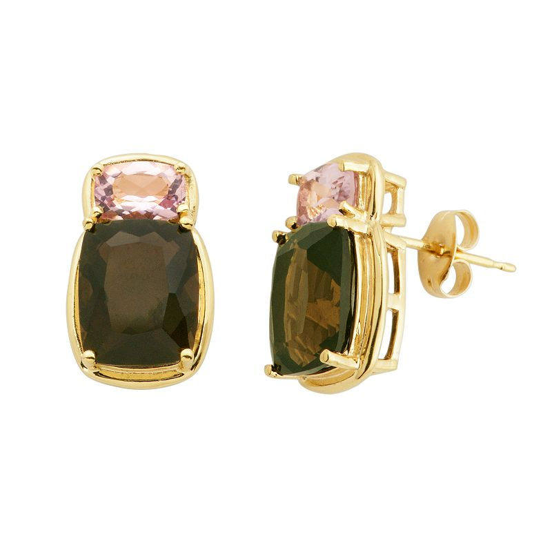 Smoky Quartz and Pink Quartz 18k Gold Over Silver Stud Earrings