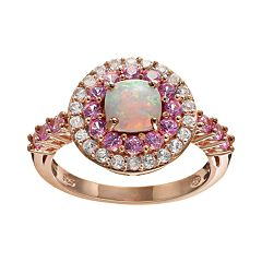 Lab-Created Opal, Lab-Created Pink Sapphire & Sky Blue Topaz 18k Rose Gold Over Silver Tiered Ring by