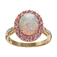 Lab-Created Opal & Lab-Created Sapphire 18k Gold Over Silver Oval Halo Ring