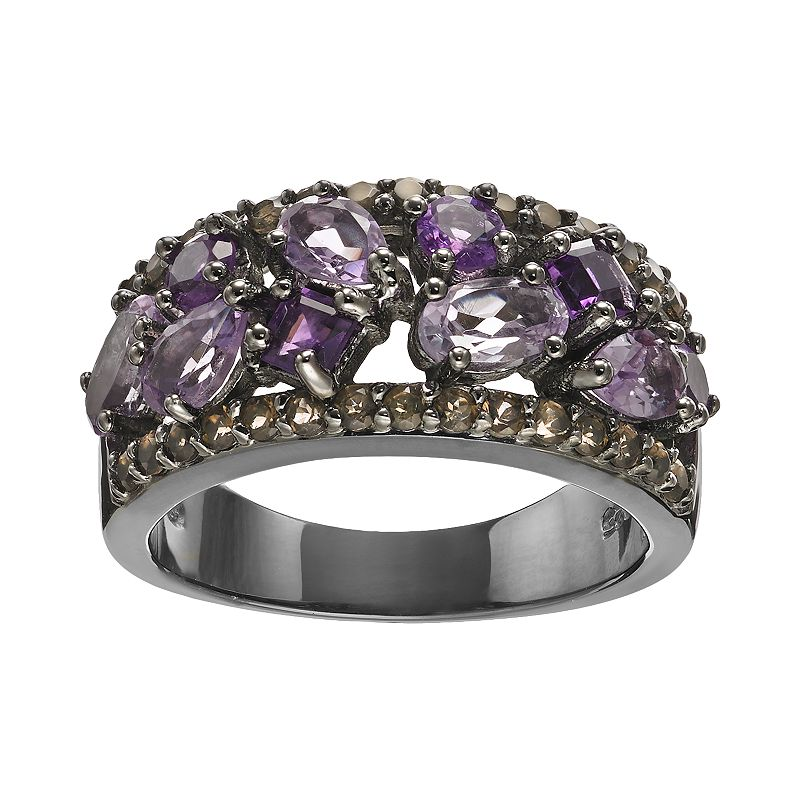 Amethyst and Smoky Quartz Ruthenium-Plated Sterling Silver Ring