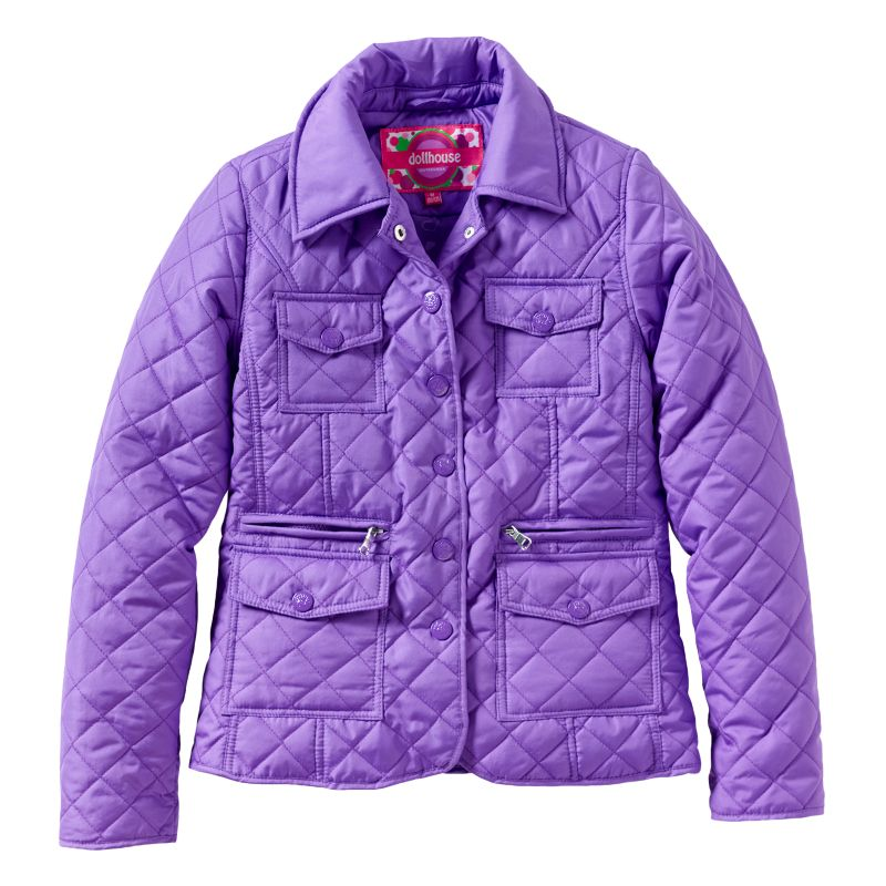 Girls 7-16 Dollhouse Quilted Multi-Pocket Jacket, Girl's, Size: 14, Purple
