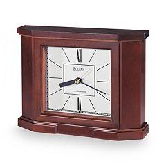 Bulova Altus Wood Atomic Timekeeping Table Clock B1854 by