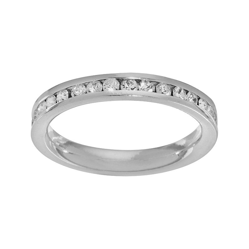 Sterling Silver Clear Crystal Eternity Band Ring