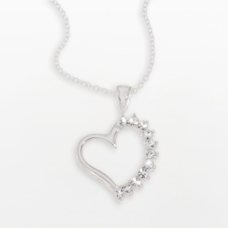Sterling Silver Clear Crystal Heart Pendant