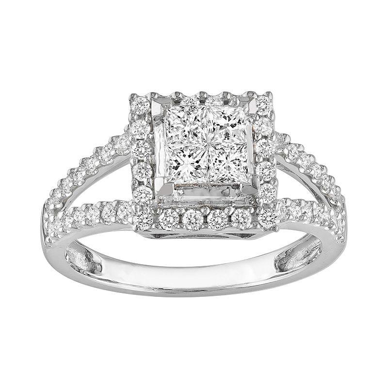 Diamond Tiered Engagement Ring in 14k White Gold (1 Carat T.W.)
