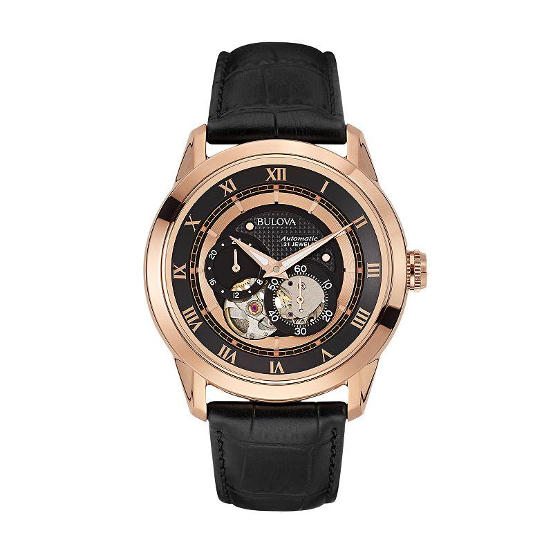 Bulova Men's Leather Automatic Skeleton Watch - 97A116
