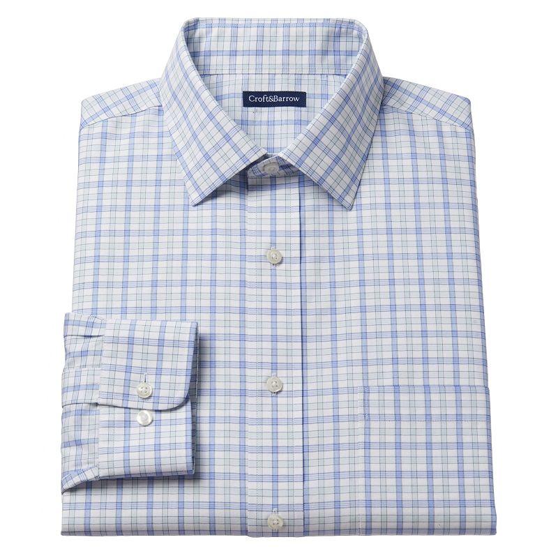 Men's Croft & Barrow® Fitted Highland Plaid No-Iron Spread-Collar Dress Shirt - Men