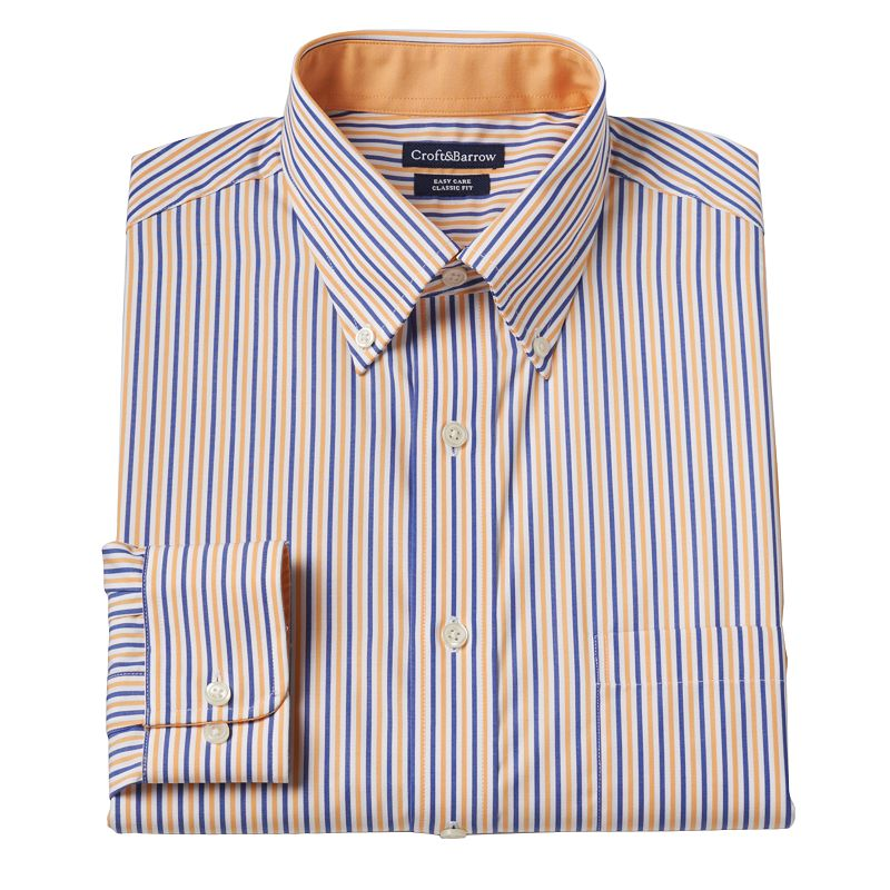 Men's Croft & Barrow® Classic-Fit Derby Bengal-Striped Easy-Care Button-Down Collar Dress Shirt - Men