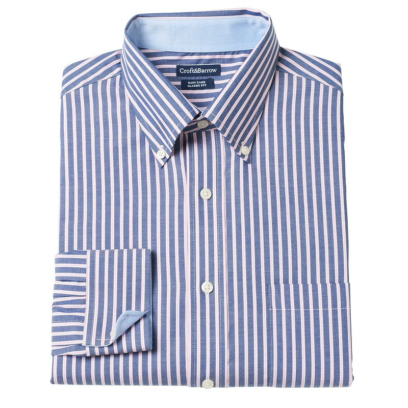 Big & Tall Croft & Barrow® Striped Easy-Care Dress Shirt