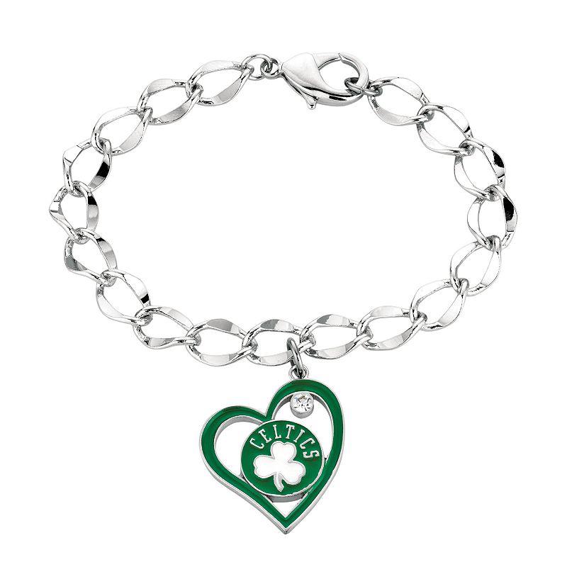 Boston Celtics Crystal Silver Tone Heart Charm Bracelet