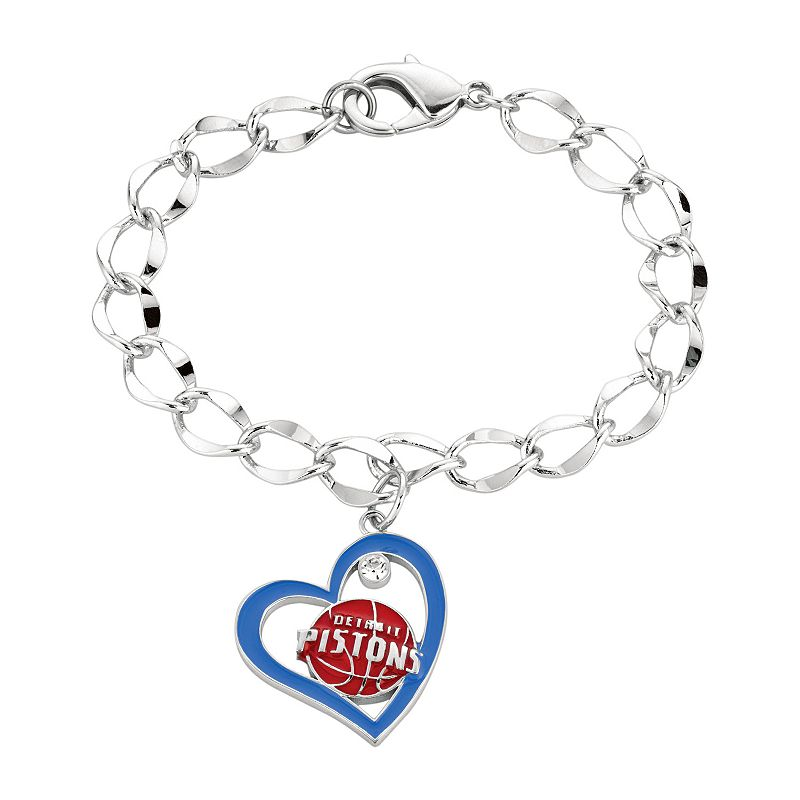 Detroit Pistons Crystal Silver Tone Heart Charm Bracelet