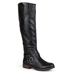 Journee Collection Womens Regular and Wide-Calf Buckle Knee-High Riding Boot