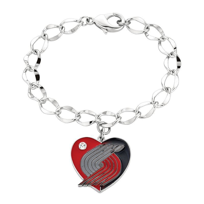 Portland Trail Blazers Crystal Silver Tone Heart Charm Bracelet