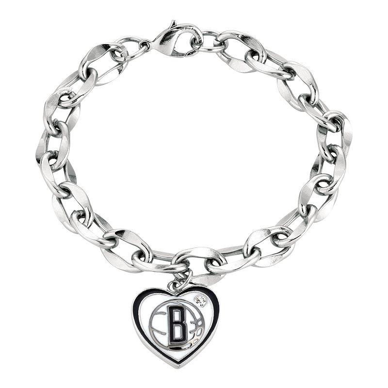 Brooklyn Nets Crystal Silver Tone Heart Charm Bracelet