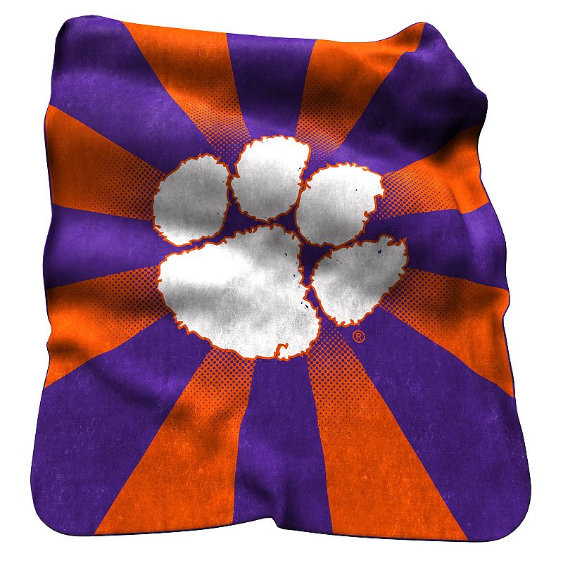 Logo Brand Clemson Tigers Raschel Throw Blanket