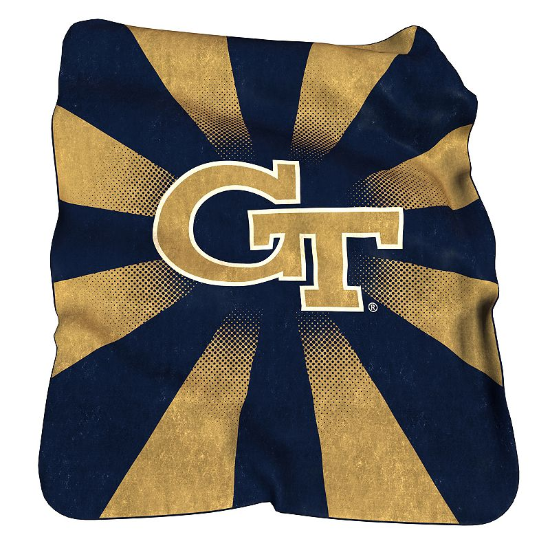 Logo Brand Georgia Tech Yellow Jackets Raschel Throw Blanket