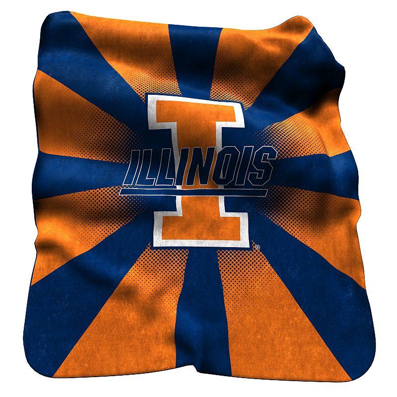 Logo Brand Illinois Fighting Illini Raschel Throw Blanket