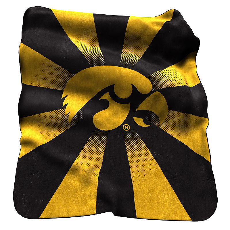 Logo Brand Iowa Hawkeyes Raschel Throw Blanket