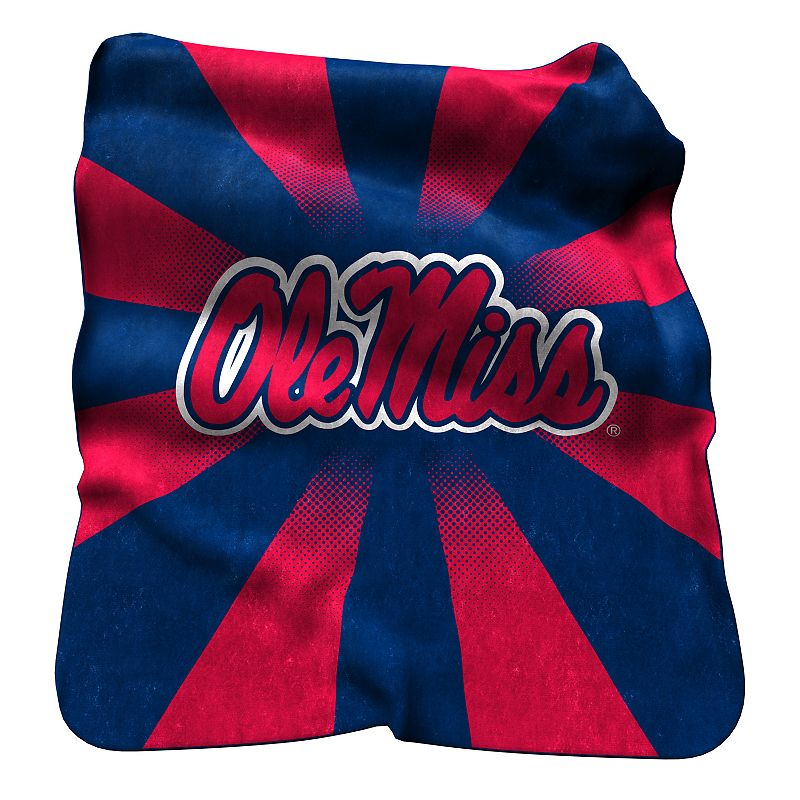 Logo Brand Ole Miss Rebels Raschel Throw Blanket