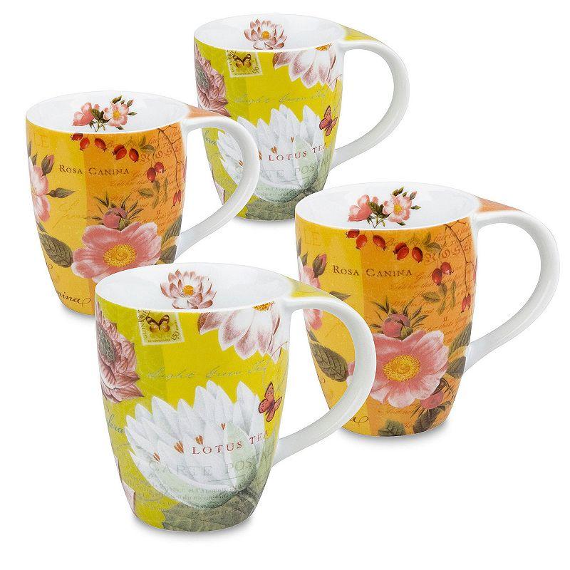 Konitz Tea Flowers 4-pc. Assorted Coffee Mug Set