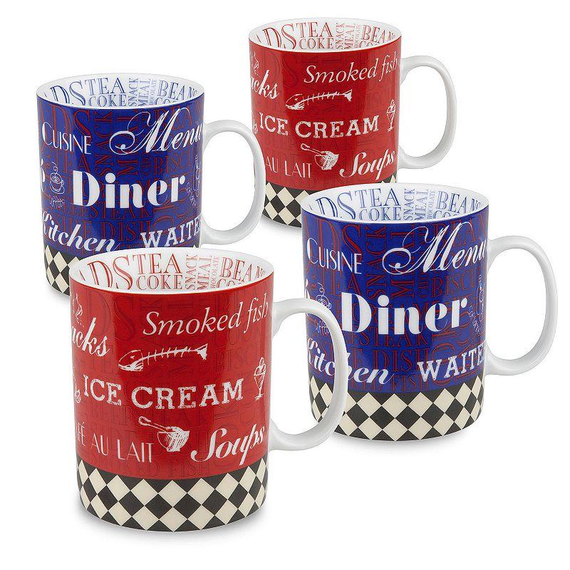 Konitz Mugs American Diner 4-pc. Assorted Coffee Mug Set