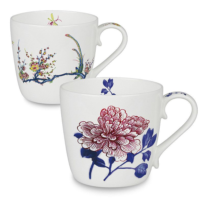 Konitz Butler Collection Peony and Bird 2-pc. Mug Set