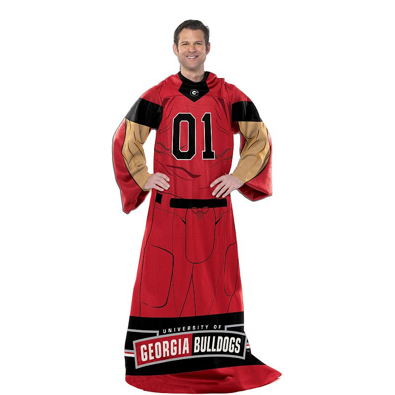 Georgia Bulldogs Uniform Comfy Throw Blanket with Sleeves by Northwest