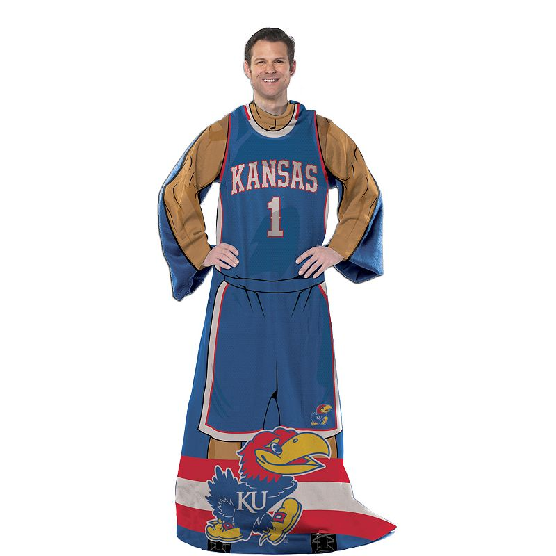 Kansas Jayhawks Uniform Comfy Throw Blanket with Sleeves by Northwest