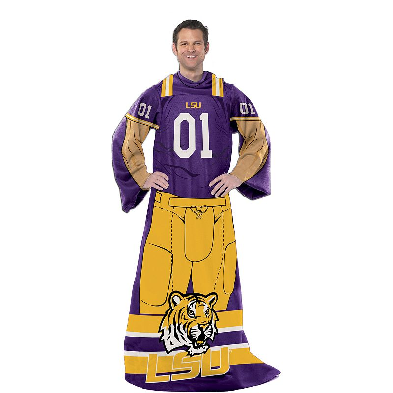 LSU Tigers Uniform Comfy Throw Blanket with Sleeves by Northwest