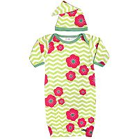 Baby Sozo Chevron Flower Sleeper Gown & Cap Set