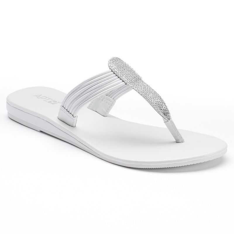 Apt. 9® Women's Glitter Thong Wedge Sandals