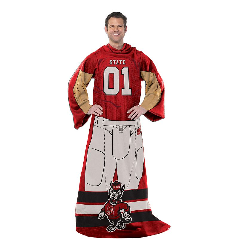 North Carolina State Wolfpack Uniform Comfy Throw Blanket with Sleeves by Northwest