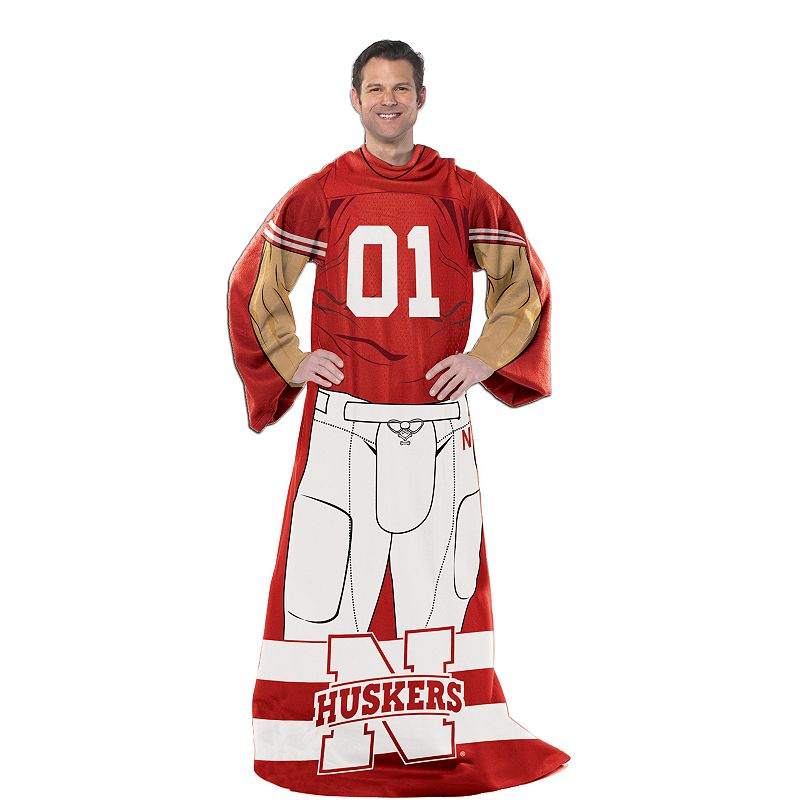 Nebraska Cornhuskers Uniform Comfy Throw Blanket with Sleeves by Northwest