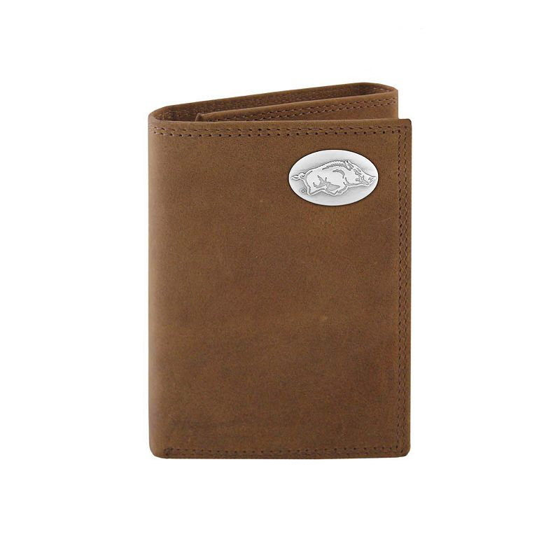 Zep-Pro Arkansas Razorbacks Concho Crazy Horse Leather Trifold Wallet