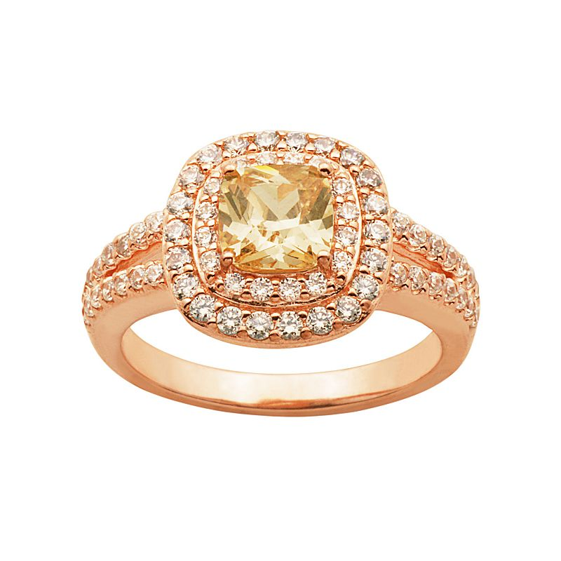 Champagne and White Cubic Zirconia 18k Rose Gold Over Silver Tiered Halo Ring